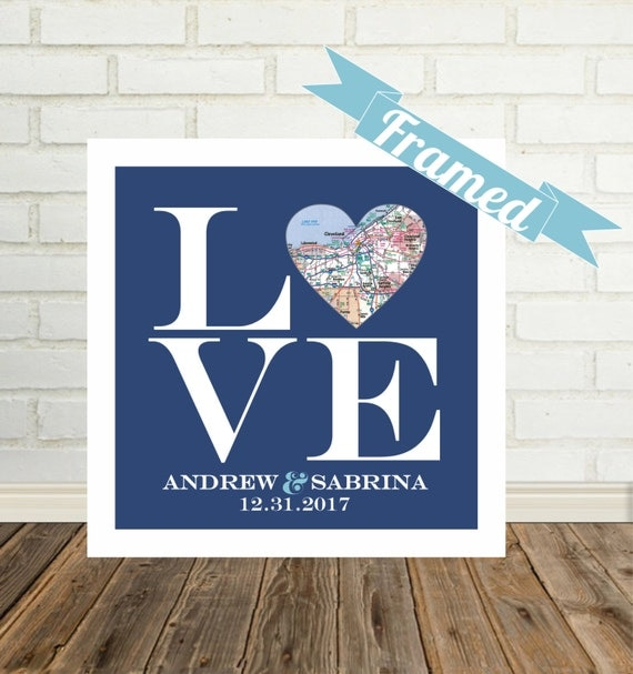 Wedding Gifts For Adventurous Couples : Love Sign Wedding Gift for Couple Heart Map Art Custom Wedding Gift ...