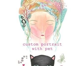 Custom portrait with pet art commission custom art personalised portrait