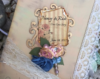 Shabby Guest book Wedding / Vintage Inspired Sign in Book