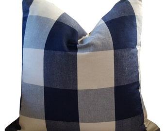 Navy Buffalo Check Pillows - Navy Plaid Pillow - Buffalo Check Pillow - Decorative Pillows - Throw Pillows - Accent Pillows - Euro Shams