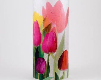 Tulips.  Red, Yellow, Pink colors on 1 medium size candle cuff.  Includes 1 free Electric Tea Light.  Romantic.  Indoor and outdoor lights.