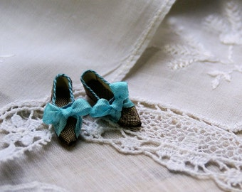Miniature shoes - romantic flats -bronze silk with blue bow
