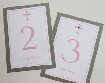 Classy Cross Girl Baptism Table Number Cards and Place Cards -- Private Listing