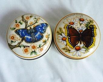 Two round butterfly fudge tins by Bristows of Devon