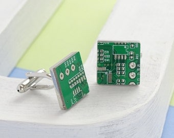 Genuine Circuit Board Cufflinks - Square