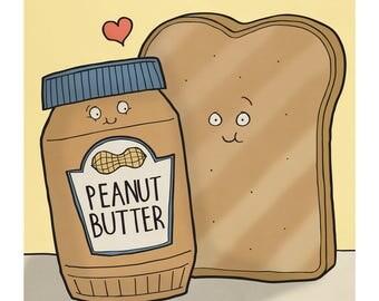 Peanut Butter and Toast - Illustration Art Print