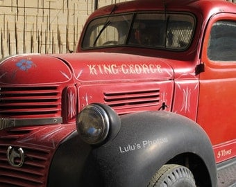 Personalized Cards and Prints, Old Red Truck, King George, on the Island of Malta