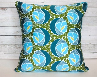 Blue and green throw pillow cover. Floral pillow. 1 cushion cover for 18x18 pillow. Retro pillow accent pillow bed pillow couch cushion