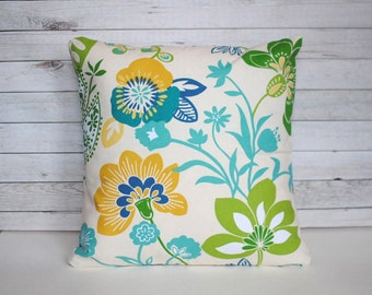 Pillow Cover in Blue, Green and Yellow. 1 cover for 18x18 pillow insert.  Colorful sofa pillow nursery decor cottage chic window seat