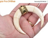 """15% OFF White Natural Bone Double Horn Pendant, Large Crescent Horn, Brass Bail, Upside Down Moon, 2-3/4"""" wide, cho0167"""
