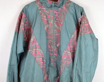 80's Windbreaker Track Jacket - Size Medium - Pastel Neon