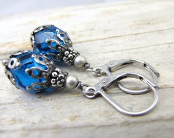 blue earrings minimalist tiny glass drop antique style dark silver end caps stainless steel lever back ear wires closed earrings