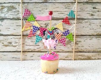 Single Carousel Zebra Cupcake Topper/Pick