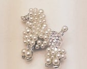 "CLEARANCE Poodle Brooch Finishing Piece for Outfit Tote Purse Hat or Bridal Bouquet 1 1/4"" x 1 1/4"""
