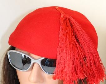 vintage red wool hat by Henry Pollak  N.Y.
