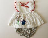 1980's Little House Flutter Sleeve Pinafore Dress & Calico Bloomers (18 months)