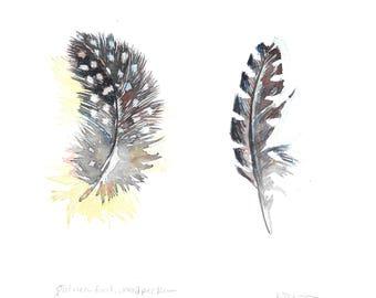 "Guinea Fowl and Woodpecker, 6 1/2 x 6"", original watercolor, monochrome,  black, blue, white, polka dots, feathers, bird art, OOAK painting"