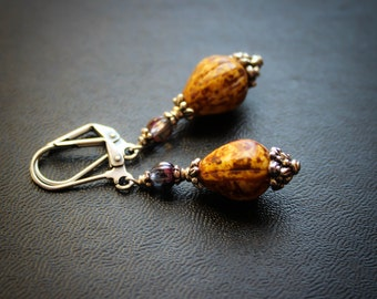 Earth Mother Gourd Earrings.  The Sacred Calabash Earrings.