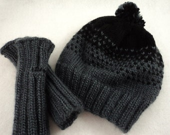 PDF Fingerless gloves & Two Tone Hat with Pompom Knitting Pattern