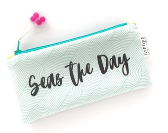 Seas The Day Recycled Zipper Pouch, Waves Storage Bag + Glass Bead Tassel, Handmade Ocean Gift, Beach Life, Blue, Navy, Turquoise Clutch