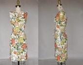 SALE!!! Garden Party dress | vintage 50s floral linen wiggle dress | sleeveless, belted xxs