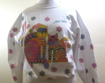 Vintage Sweatshirt, Vintage 80s, Lake Tahoe, Ugly Christmas, Christmas Party, Snaowflakes, Laurel Birch, Cat Sweatshirt, Ski Sweater,Vintage