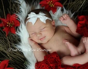 White baby headband, infant headband, baby headband, newborn headband, white bow headband, baby bow, baby hair bow