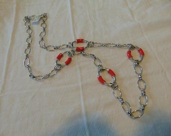 vintage FRAGMENTS mfg. coral pink links necklace unused mint silver