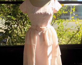 Vintage 1960's Pink Party Dress with Detached Skirt