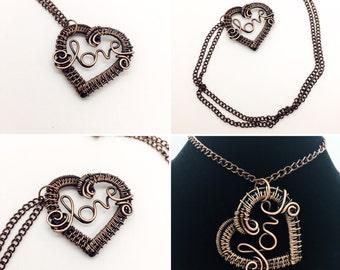 Copper Woven Heart Love Necklace