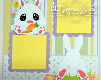 Easter Bunny Scrapbook Page Boy Girl Baby 12x12 Layout Paper Piecing Handmade 43