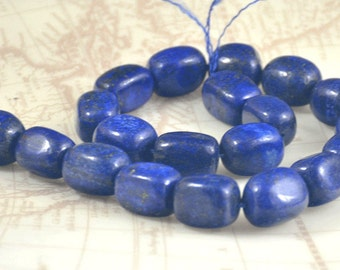 "Large Lapis Lazuli Beads ,nugget Lapis strand, gemstone Jasper beads Stone FULL STRAND 15"" 15mmx20mm"