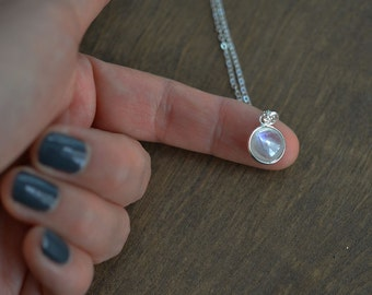 Moonstone Necklace, Tiny Moonstone Necklace, Bridesmaid Gift, Bezel Set Moonstone, Pendent Necklace, Everyday Necklace