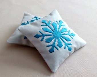 SALE - Lavender Sachets SNOWFLAKES- Set of Two Embroidered Linen Cushions Christmas Gift