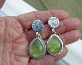Prehnite Sterling Silver Post Earrings