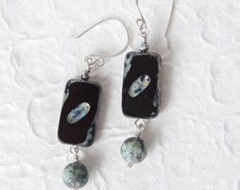 Black Earrings, Black Aqua Earrings, African Turquoise, Turquoise, Turquoise Earrings, Black, Dangle Earrings
