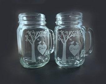 Personalized Mason Jar Mugs with Blooming Tree and Sweetheart Birds – Mothers Day Gift – Wedding Gift - Mason Jars – Mason Mug