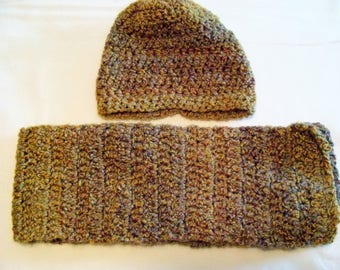 Brown Varigated Hat & Scarf Set