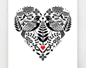 New Zealand, Tui, bird, black and white heart, with bright red, print
