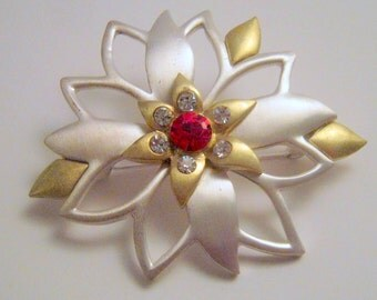 Vintage Silver and Gold Flower with Rhinestones Brooch