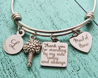 maid of honor gift, bridesmaid gift, matron of honor, personalized wedding gift, maid of honor jewelry bracelet, Maid of Honor proposal gift