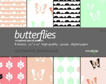 Butterflies Scrapbooking Paper, Pink Butterfly Digital Paper, Baby Girl Shower, Printable Sheets spring pink background, Pastel pink, Mint