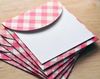 SALE-Red Checker Mini Cards // Set of 5 // Blank Cards // Enclosure Cards // Gift Card // Love Note // Journal Card // Scrapbooking