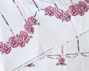 Daisy Kingdom Pansy Swag Border fabric . 1996 Purple Floral . Linen Soft Woven Donna Hrkman