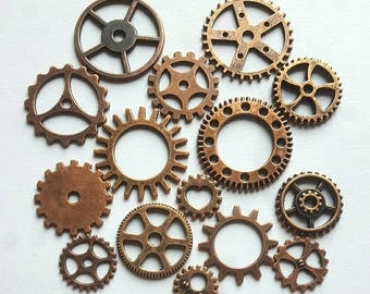 15pcs Antique Copper Mixed Steam Punk Cogs Charms - Copper gears - #11