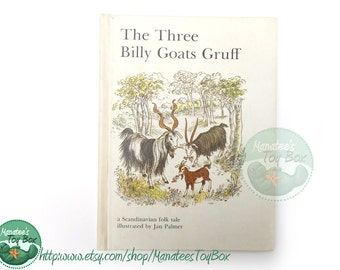 Vintage Three Billy Goats Gruff Book: Scandinavian Folk Tale 1970s Hardcover