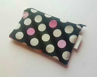 Zippered Pouch, Black with Polka Dots, Ready to Ship