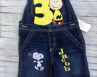 Charlie Brown Birthday Overalls , First Second Third Fourth  Birthday, Snoopy Birthday Overalls, Woodstock Birthday Overalls, Peanut Gang
