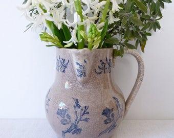1900 - St Uze - RARE - Big French antique glazed ceramic pottery pitcher from Saint Uze, Provence, France - Antique Tea Stained Jug