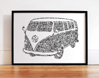 The VW Type2 Mini Bus - History of the hippie wagon - microbus - kombi - camper- van -transporter -bulli - Hand signed - large format poster